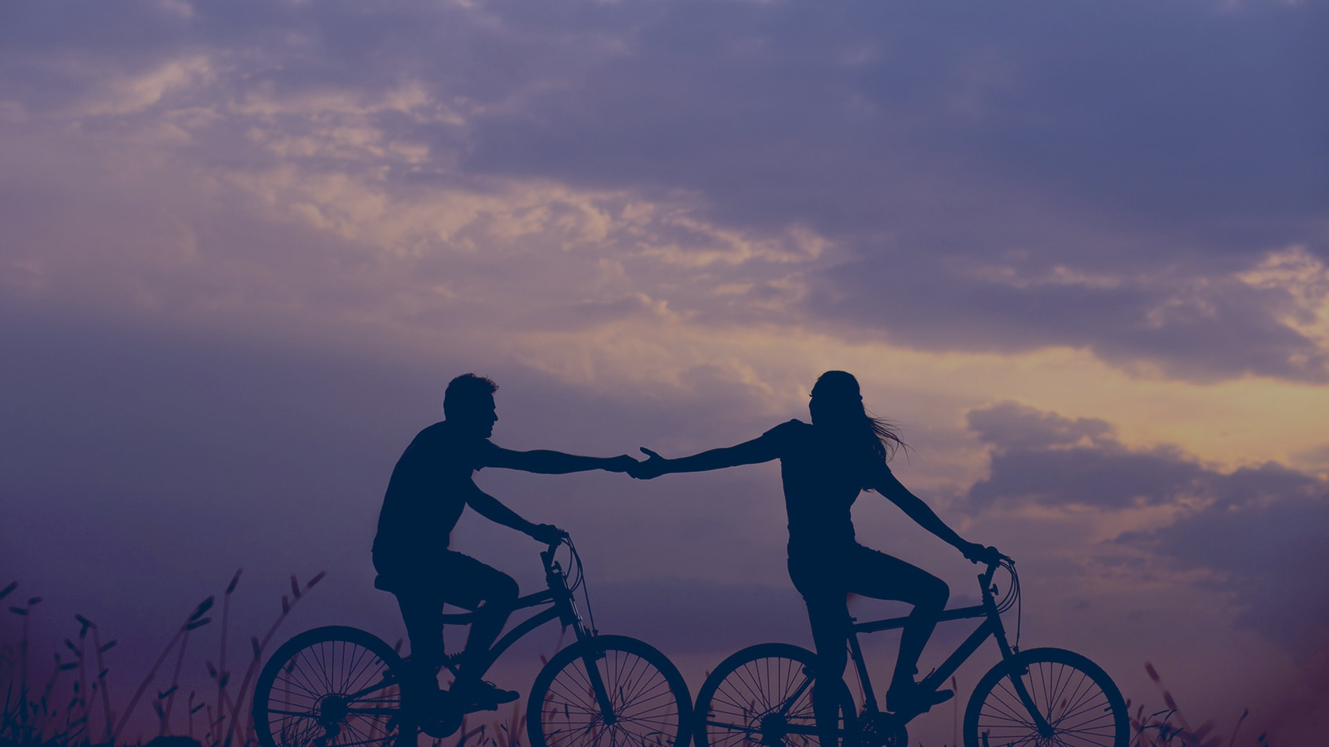 two people holding hands while riding bikes during purple dusk